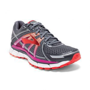 brooks running sneaker womens red and gray